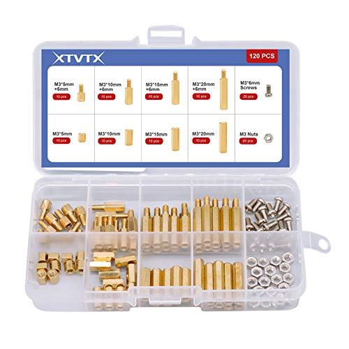 XTVTX 120 piezas Espaciadores de pilares de latón de latón de pilares espaciadores hexagonales macho hembra rosca de placa base PCB tornillos de tuerca