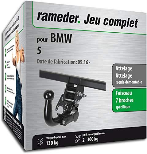 Rameder Pack, attelage rotule démontable + Faisceau 7 Broches Compatible avec BMW 5 (157769-37157-1-FR)