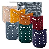 Pacific Neutrals Baby Cloth Pocket Diapers 7 Pack, 7 Bamboo Inserts, 1...