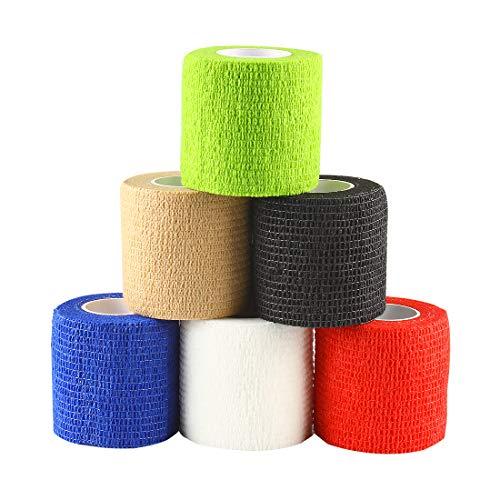 Andux Zone Selbstklebende Bandage 6 Rollen Elastische Cohesive Wrap-Verband Farbe Random ZZTXBD-01 (5cm*4.5m)