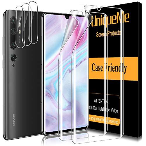UniqueMe [2 Pack] Protector de Pantalla para Xiaomi Mi Note 10 y [3 Pack] Protector de Lente de cámara para Xiaomi Mi Note 10 cámara, [Cobertura máxima] TPU [Sin Burbujas]