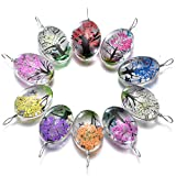 10pcs Mixed Colors Unique Lacework Transparent Resin Beads Oval Pendant for Necklace Real Dried Flower Tree Charms for DIY Jewelry Making 18X25X11mm(A596)