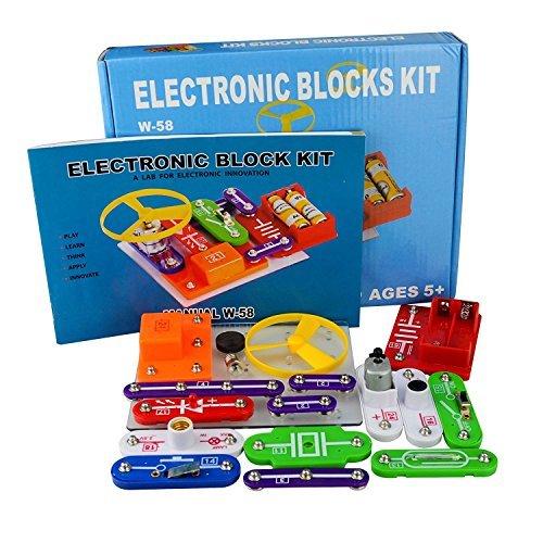 Jhua 58 DIY Schaltungen für Kinder Elektronische Entdeckung Kit Pädagogische Elektronische Block Kit Wissenschaft Experimente Kits Beste Kit Spielzeug für 5-8 Ages Kids