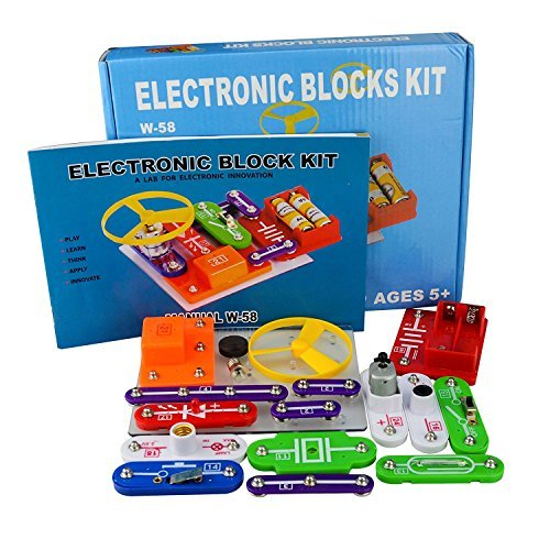 Jhua 58 DIY Science Kit for Kids Experiment Kits Electronic Blocks Science Circuits Toy Educational Discovery Kit Safe for 5-8 Ages Kids
