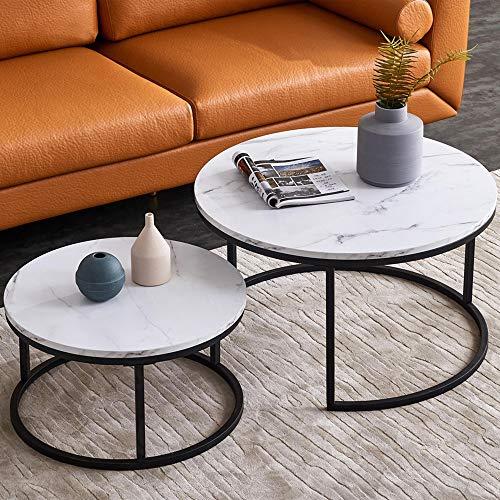 Juego de mesas nido para el salón – Juego de mesas de café – Mesa redonda – Mesa de salón – Juego de 2 – 80 x 80 x 45 cm (grande) & 60 x 60 x 33 cm (pequeña) (negro + blanco)