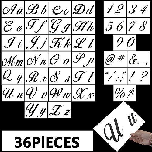 Vordas Welecoco Plantillas de Letras,36 piezas Plantillas Letras Números de Letras Alfabeto y Signos Plantillas de Alfabeto Utilizables de Plástico Sténcil