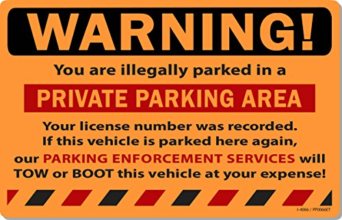 """50 Orange Fluorescent Warning Private Parking Area! Violation No Parking Towing Car Auto Sign Stickers 8"""" X 5"""""""