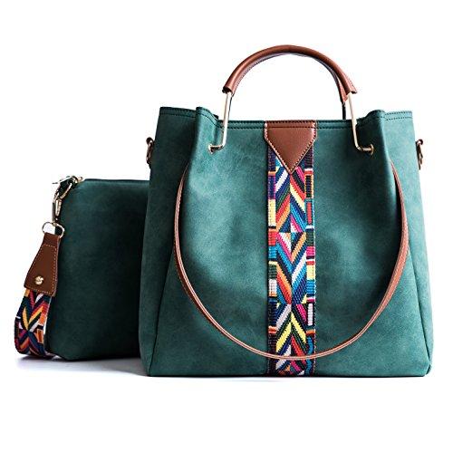 TIBES Bolso mujeres Monedero cuero sintético bolso sistema 2pcs Bolso de hombro vintage Bolsa de trabajo Verde