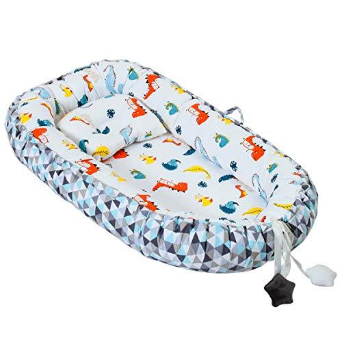 Tumbona de bebé nido 100% algodón suave transpirable tumbona para recién nacido perfecta para dormir conjuntamente, cuna portátil para bebés de 0 a 2 años Dinosaur