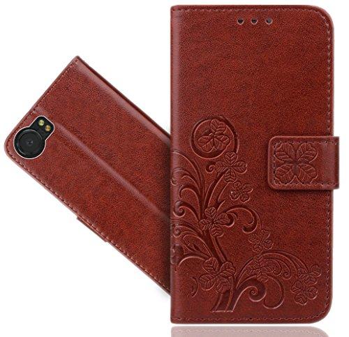 BlackBerry Keyone Case, FoneExpert Premium Leather Flower Kickstand Flip Wallet Bag Case Cover for BlackBerry Keyone