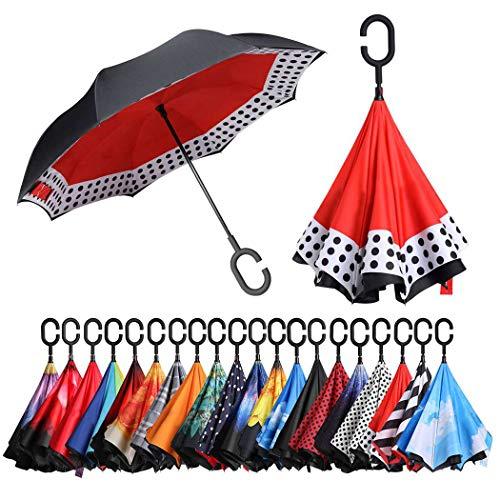 Eono by Amazon - Paraguas Invertido de Doble Capa, Paraguas Plegable de...
