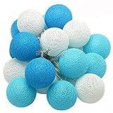 XIYUNTE Bola de algodn Guirnaldas luminosas - 9.8FT / 20LED blanco y azul bola de algodn (4cm) Iluminacin de Navidad de interior, Luces hadas decor de interior para Navidad