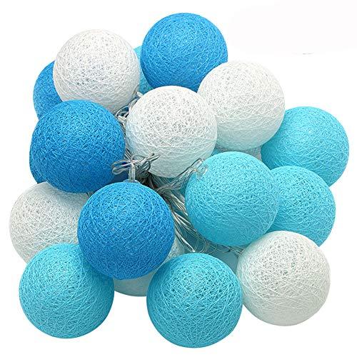 XIYUNTE Bola de algodón Guirnaldas luminosas - 9.8FT / 20LED blanco y azul bola de algodón (φ4cm) Iluminación de Navidad de interior, Luces hadas decor de interior para Navidad