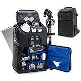 USA Gear Zaino Fotografico Professionale, Borsa per Fotocamera, Custodia per SLR con Scomparto per Laptop, Divisori Imbottiti Personalizzati, Supporto per Treppiedi, Copertura Antipioggia - Blu