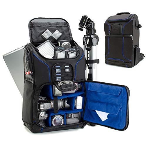 USA Gear DSLR Kamerarucksack, Foto Rucksack Anti-Shock Kameratasche mit 43,18 cm Laptop-Tasche, wasserdichte Abdeckung, Verstellbare Linse Lagerung & Stativhalter - Blau