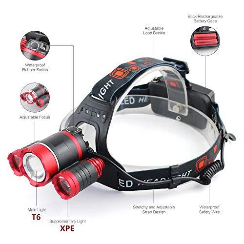 FODFKL 3 Led Headlamp XM-L T6 Headlight Light Lantern Head Lamp Flashlight zoomable Rechargeable 18650 Battery Hunting Fishing Lighting