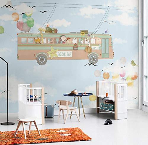 Cartoon Kinderkamer Wallpaper Bus Slaapkamer Woonkamer Achtergrond Muur Schilderen 430 * 300 cm/(169.3×118.1 inch)