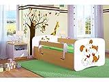 Kocot Kids Kinderbett Jugendbett 70x140 80x160 80x180 Buche mit Rausfallschutz Matratze Schublade und Lattenrost Kinderbetten für Mädchen und Junge Hund und Kätzchen 160 cm
