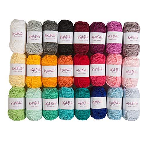 Knit Picks Brava Mini Pack Worsted Premium Acrylic Yarn - 24 Pack (25 Gram Minis, Rainbow)