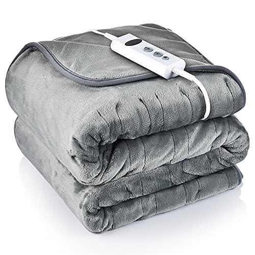 Heizdecke Plüsch 185x135 cm, Wärmeunterbett mit 10 Einstellbaren Temperaturstufen 9 Stunden Timer, Elektrische Wärmedecke Heizdecke Kuscheldecke mit Abschaltautomatik und Überhitzungsschutz - Grau