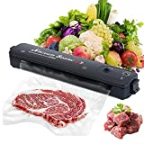 Vacuum Sealer Machine,Automatic Food Sealer for Food Savers w|10 Vacuum Bags|Vacuum and Seal Modes|Led Indicator Lights|Easy to Clean|Compact Design(Black)