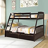Twin Over Full Bunk Bed for Kids, Solid Wood bunk Bed Frame with Storage Drawers, Convertible to 2 Seperate Beds, Espresso