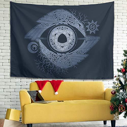 Tentenentent Tapiz de pared gótico vikingo con ojo de Odin – Decoración de pared para salón blanco 150 x 130 cm