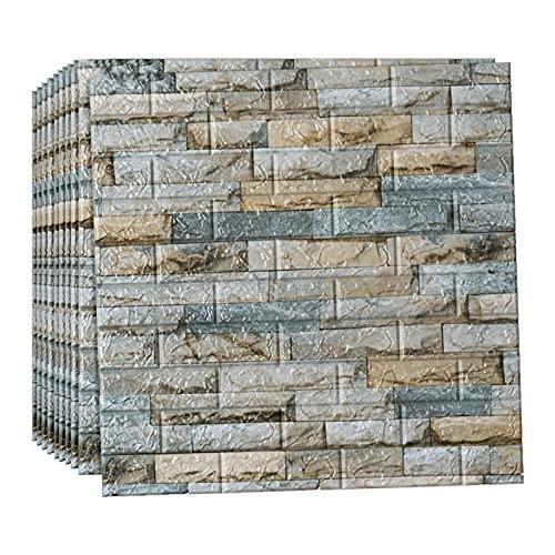 LYQCZ Paneles Decorativos 3D, Pegatinas De Pared, Papel Pintado Autoadhesivo ImitacióN Ladrillo, DIY Wall Stickers DecoracióN para Cuarto Papel Pared para SalóN Cocina(Color:Grey Blue,Size:40pcs)