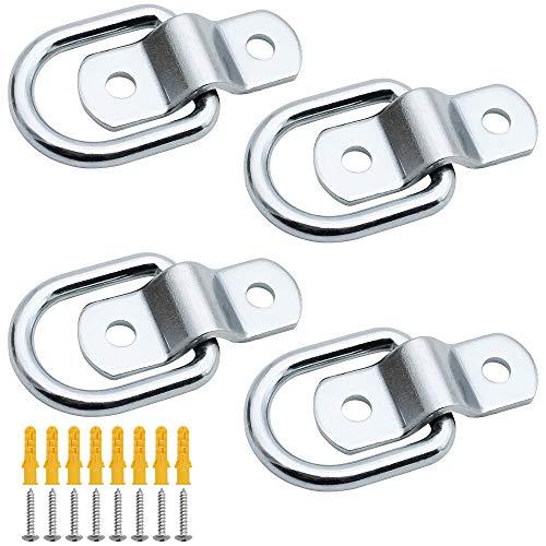 RtottiM 4 Stück D Ring Zurröse Zurring Aufbauring Ring Aufbauzurrösen Zurring D-Ringe Haken mit 8 Schrauben für Ladungssicherung in Anhänger LKW Boot PKWs