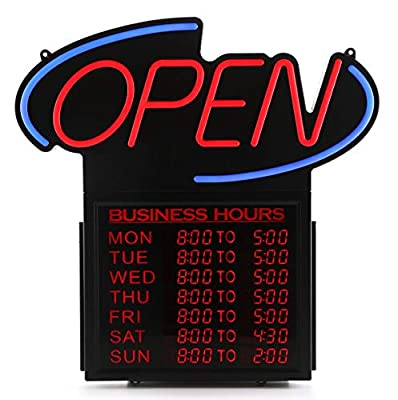 "Premier POS 20"" Business Hours Open Led Sign"