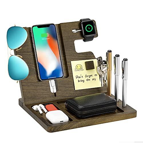 MoKo Estación de Acoplamiento, Centro de Carga y Organizador para Reloj Dispositivos Gafas y Llave, Regalo para Papá Compatible con Móviles Android, iPhone en Hogar Oficina y Cabecera - Nogal Negro