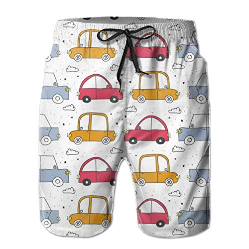 Mens Beach Shorts Cartoon Kleurrijke Car Printing Swim Trunks Male Swimsuit