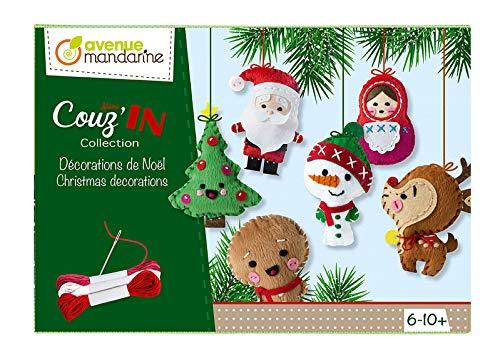 Avenue Mandarine KC062C - Une boite créative Mini Couz'in comprenant 6 personnages de Noël à coudre 10x3x6 cm, une aiguille et 3 pelotes de fil (notice incluse)