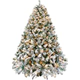 Yaheetech Pre-lit Artificial Christmas Tree with Incandescent Warm White Lights, Snow Flocked Full Prelighted Xmas Tree with 1284 Branch Tips, 550 Incandescent Lights&Foldable Stand (7.5ft, White)