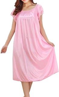 BESTHOO Vestito da Pigiama Donna Vestito da Notte Manica Corta Camicia da Notte Estive Femminili Sleepwear Morbidi Comoda Abito da Notte Taglie Forti