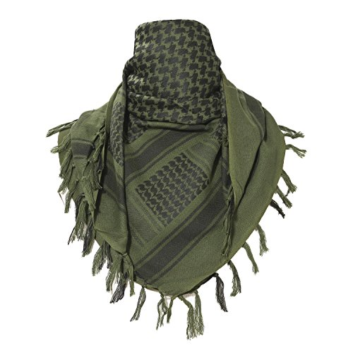 TACVASEN Women Cotton Military Tactical Desert Keffiyeh Scarf Wrap Army Green