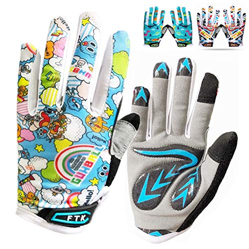 Kids Full Finger Cycling Gloves Gel Boys Girls Pair Bike Riding Mountain Rode Bicycle Glove, Non-Slip Touch Screen Gel Padded Gift for Youth Running Sporting Fishing Hunting Training (Blue, Medium)
