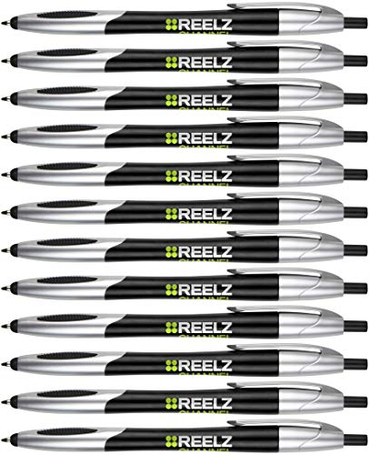 Personalized Ink Pens with Stylus - Click action - The Glide -Custom - Black writing - Printed Name pens - Imprinted with Your Logo/Message - FREE PERZONALIZATION - 14 Pens/Box (Black)