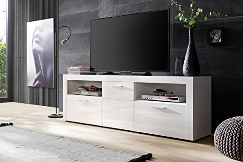trendteam Wohnzimmer Lowboard Fernsehschrank Fernsehtisch Kito, 178 x 59 x 41 cm in Korpus Weiß, Front Weiß Glanz mit reichlich Platz für Dekoration