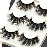 ICYCHEER 3 Pairs High Volume 6D False Eyelashes Fluffy Mink Lashes Dramatic Thick Crossed Cluster Eye Lashes Black Natural Long Soft Reusable (024)