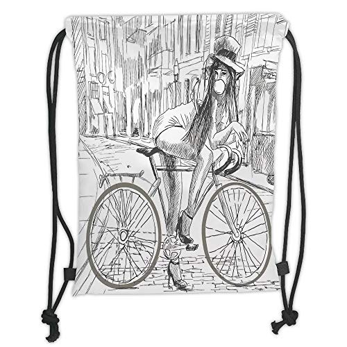 Fevthmii Drawstring Backpacks Bags,Bicycle,Sexy Outrageous Young Lady Chewing Gum on Her Bike...