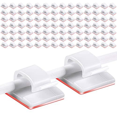 Drado 100 Stück Kabelklemmen Selbstklebende Drahtklammern Autokabel-Organizer Kabel-Kabel-Management Klebstoff-Kabelhalter für Auto-Büro und Zuhause, Weiß + transparenter...