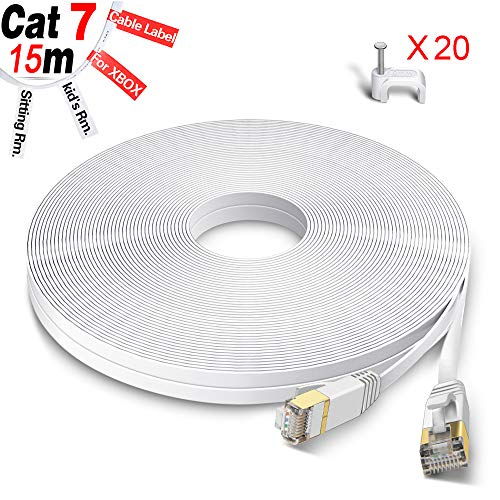 GLCON Cat7 Netzwerkkabel 15m High Speed Ethernet Kabel 600 MHz 10000 Mbit/s Flach LAN Kabel Kompatibel mit Switch/Router/Modem/Patch-Panel Weiß