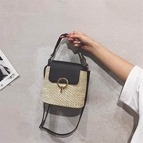 T-ara The New Handmade Small Stubble Bucket Bags For Women Summer Crossbody Bags Lady Travel Handbags Distaff Shoulder Bag Purse bolsa Essential for hiking (Color : Black, Size : 20x12x21cm)