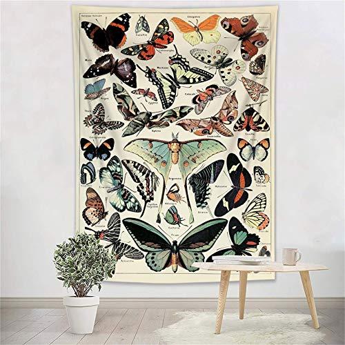 ECOTOB Tapiz retro de mariposas, multicolor con varias mariposas, tapiz vintage beige para colgar en la pared, manta rústica, tapiz de insectos para dormitorio, sala de estar,...