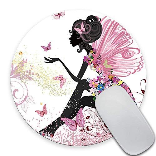 Schmetterlinge Fee Maus Pad, Cartoon Märchen Rosa Schmetterling Schönes Mädchen Rutschfeste Gummi Runde Mousepad Spielmatte