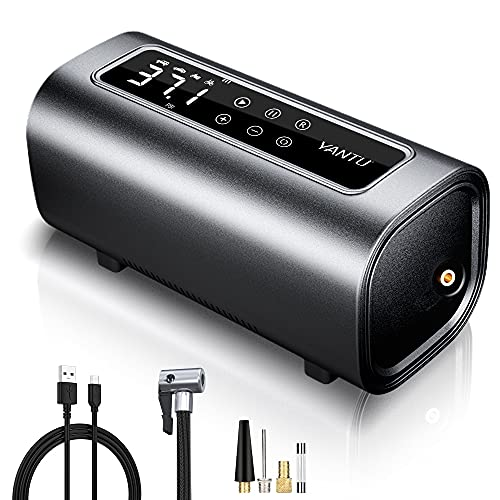 YANTU Rechargeable Air Compressor Portable Heavy Duty Double Cylinders Tire Inflator, Cordless Electric Car Air Pump, 150Psi Digital tire pump for Car tires, Truck, SUV, Dinghy, Bikes, Auto Shut-Off
