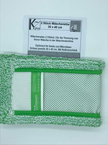 Jemako Bodentuch Bodenfaser grün Kurze Faser 42cm, Plus 2 Stück K7plus® Wäschenetz/Wäschesack