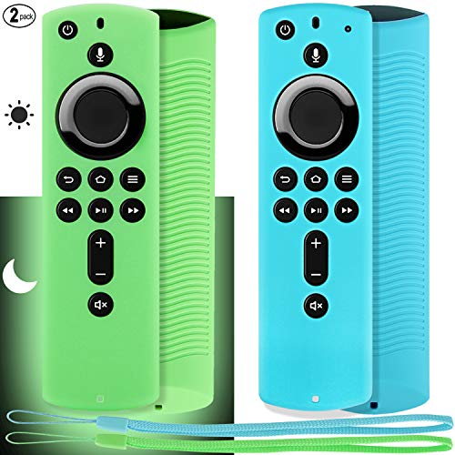 "Pinowu Firestick Remote Cover Case (2 Pack) Compatible with Fire TV Stick 4K Alexa Voice Remote Control (5.6"" 2nd Gen) (Green Glow& Turquoise Not Glow)"
