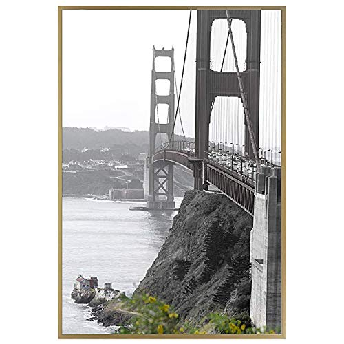 Frametory, 18x24 Metal Art Hanging Wall Mount Frame, Aluminum Picture Frame with Real Glass (Gold, Pack of 1)